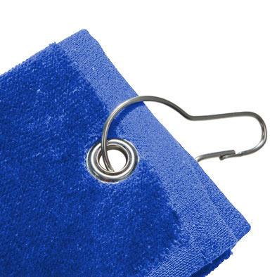 Detalle de la toalla de golf azul