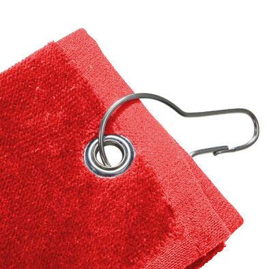 Detalle de la toalla de golf roja