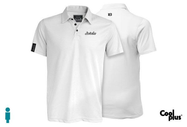Polo de golf modelo foursome blanco manga corta, transpirable