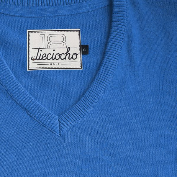 detalle jersey de golf de hombre modelo caddie color azul