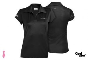 Polo de golf de mujer modelo foursome negro manga corta, transpirable
