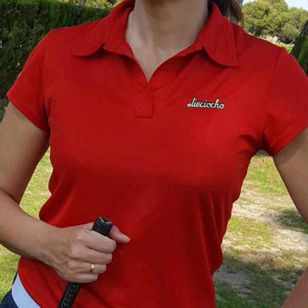 polo de golf foursome rojo mujer