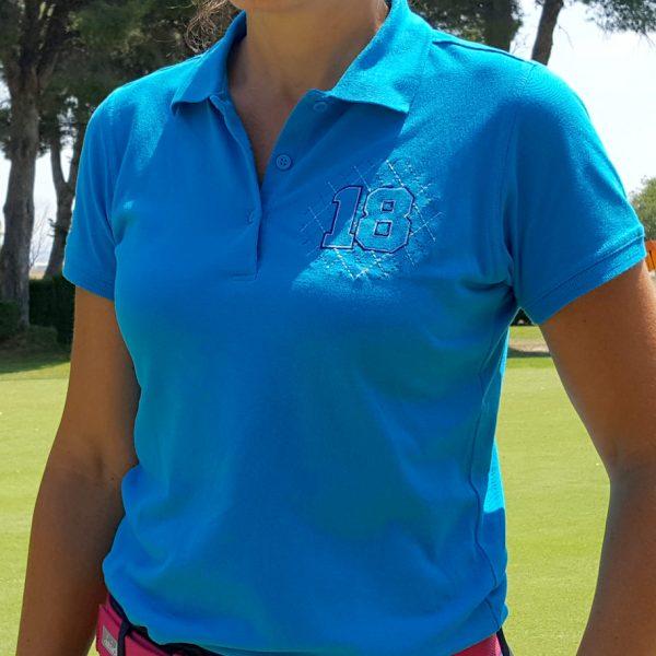 polo de golf greensome azul mujer