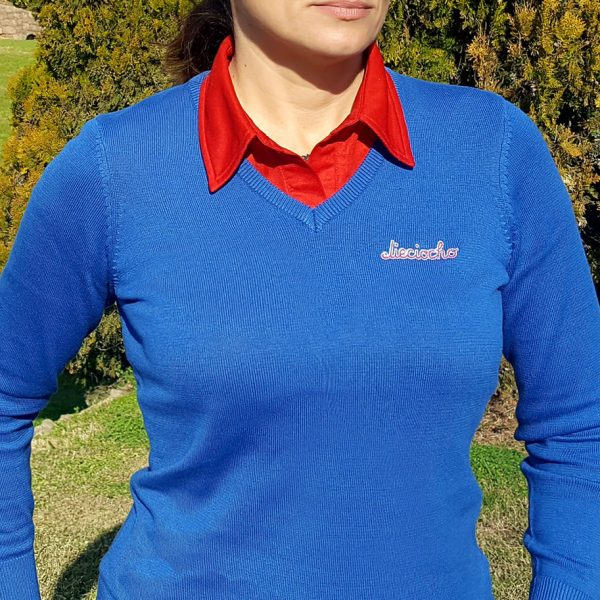 jersey de golf caddie azul mujer
