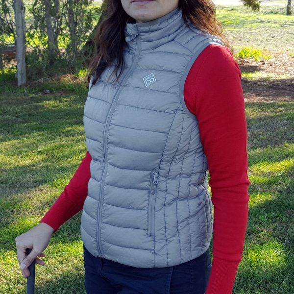 chaleco de golf de mujer modelo spin color gris