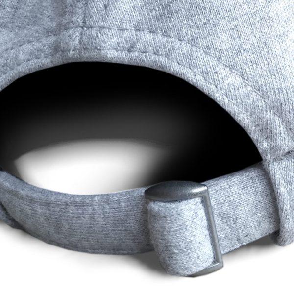 Detalle posterior gorra de golf de punto de algodón color gris claro modelo lie